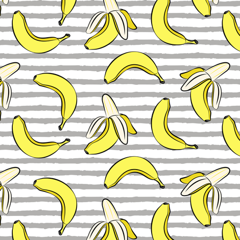 bananas on stripes (dark grey) fabric by littlearrowdesign on Spoonflower - custom fabric