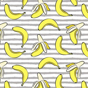 bananas on stripes (dark grey)