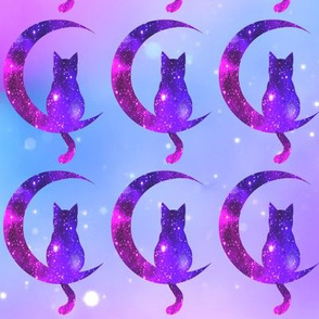 3 sitting cats animals moon glitter sparkles stars universe galaxy nebula watercolor effect silhouette purple blue violet pink cosmic cosmos planets crescent
