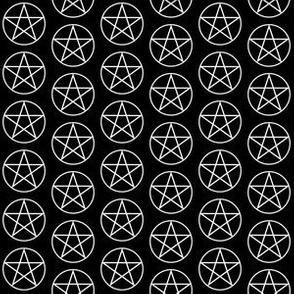 One Inch White Pentacles on Black