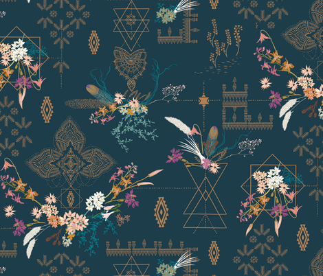 Sheba Hanging Gardens (teal) LARGE fabric by nouveau_bohemian on Spoonflower - custom fabric