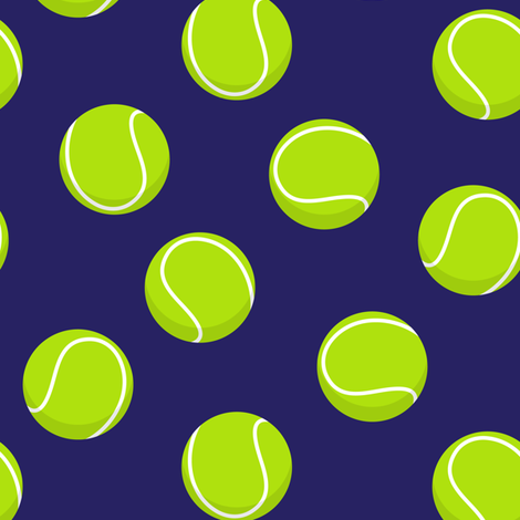 tennis balls on blue fabric by littlearrowdesign on Spoonflower - custom fabric