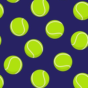 tennis balls on blue