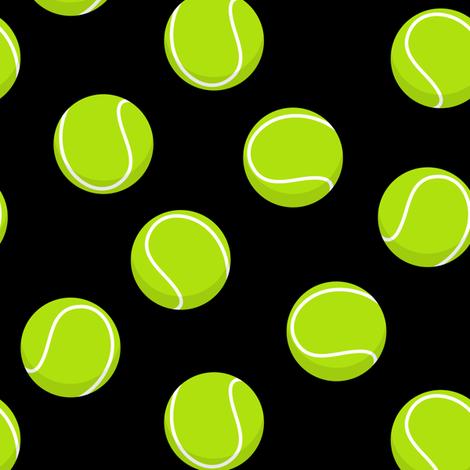 tennis balls on black fabric by littlearrowdesign on Spoonflower - custom fabric