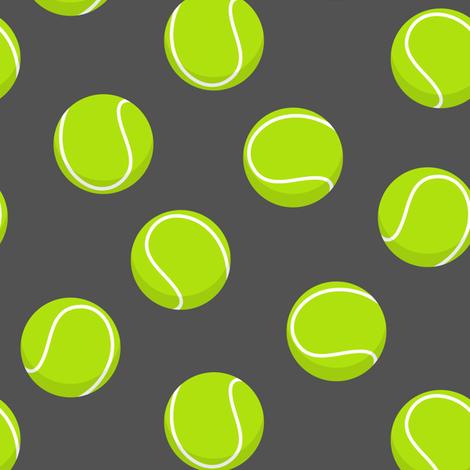 tennis ball on dark grey fabric by littlearrowdesign on Spoonflower - custom fabric