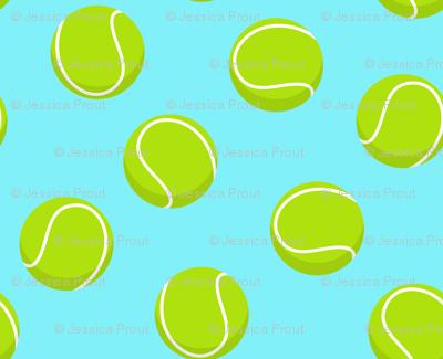 tennis ball on light blue