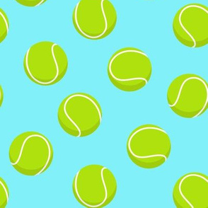 tennis ball on light blue
