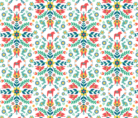 Swedish Folklore fabric by runningriverdesign on Spoonflower - custom fabric