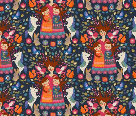 The Mother Tree fabric by ceciliamok on Spoonflower - custom fabric