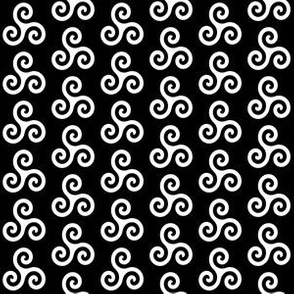 White Triskeles on Black