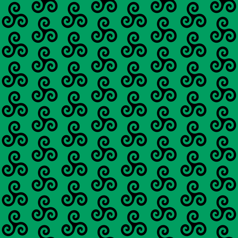 Black Triskeles on Shamrock Green fabric by mtothefifthpower on Spoonflower - custom fabric