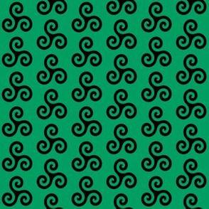 Black Triskeles on Shamrock Green