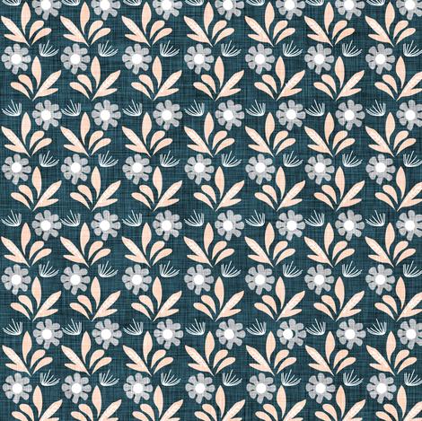 Romantik Daisy  (navy/peach linen) fabric by nouveau_bohemian on Spoonflower - custom fabric