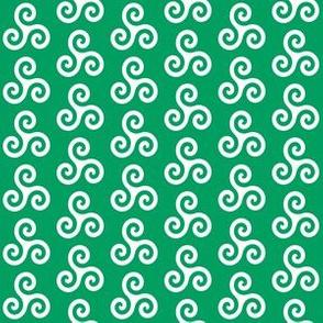 White Triskeles on Shamrock Green
