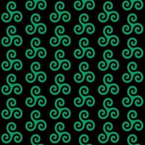 Shamrock Green Triskeles on Black