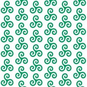 Shamrock Green Triskeles on White