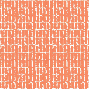 Grid Vertical Rectangles Orange Upholstery Fabric