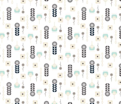 Swedish flower folk art pattern fabric by yopixart on Spoonflower - custom fabric