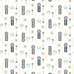 Swedish flower folk art pattern