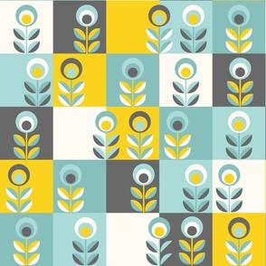 Scandinavian tiles in teal, yellow and grey