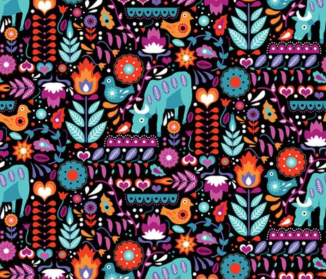 Colorful Swedish Folk Art fabric by roguerens on Spoonflower - custom fabric
