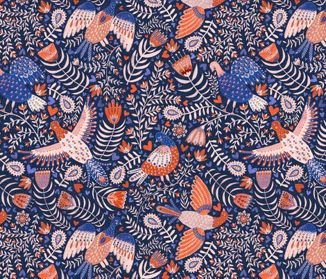 Swedish Folk Art Birds fabric by rebecca_reck_art on Spoonflower - custom fabric