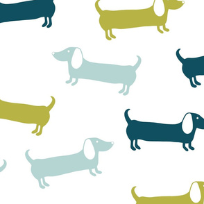 Dachshunds pattern in blue and green