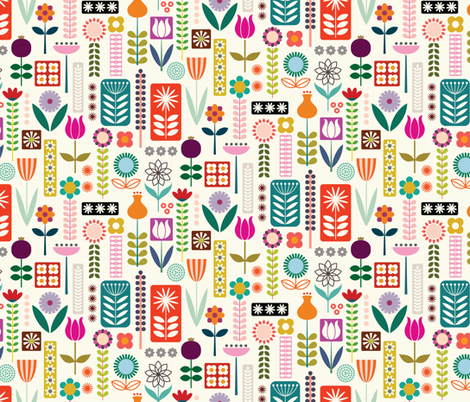 FolkArtFlowers fabric by katerhees on Spoonflower - custom fabric