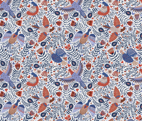 Swedish folk art birds on white with linnen texture fabric by rebecca_reck_art on Spoonflower - custom fabric