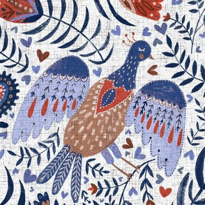 Swedish folk art birds on white with linnen texture