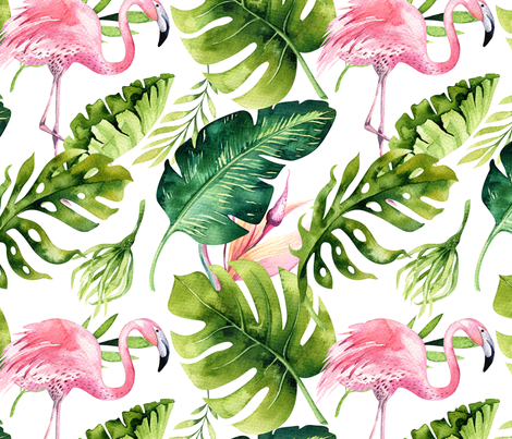 Watercolor tropic jungle seamless summer pattern background with tropical palm monstera leaves, flamingo and exotic  hibiscus  fabric by peace_shop on Spoonflower - custom fabric