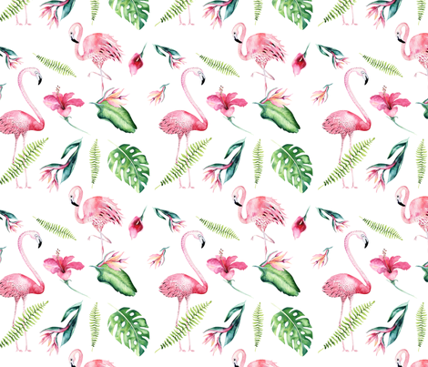 Tropical flamingo 4 fabric by peace_shop on Spoonflower - custom fabric