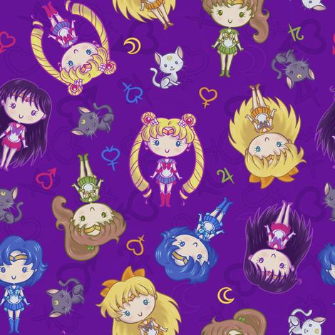 cutie-moon-tile-purple fabric by elladorine on Spoonflower - custom fabric
