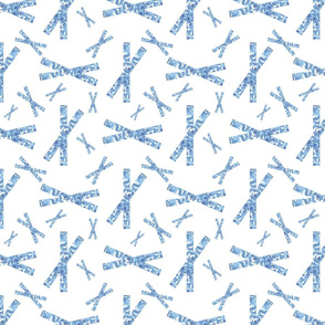 Crisscross Blue and White Upholstery Fabric