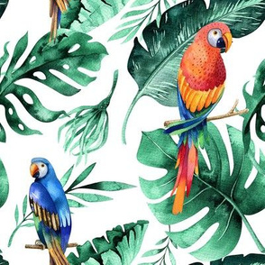 Tropical leaves  and parrots 6