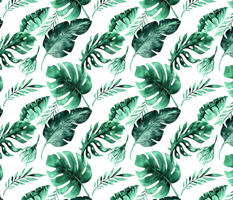 Watercolor tropic jungle seamless summer pattern background with tropical palm monstera leaves fabric by peace_shop on Spoonflower - custom fabric
