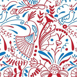 Swedish folk birds and flowers