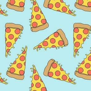 pizza // light blue pastel pizza junk food fabric junk food fabrics kids 90s fabric