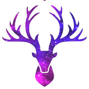2 deer animals antlers horns elk heads glitter sparkles stars universe galaxy nebula watercolor effect silhouette purple blue violet pink