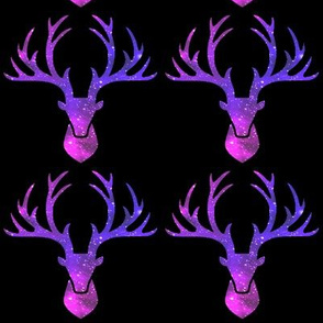 3 deer animals antlers horns elk heads glitter sparkles stars universe galaxy nebula watercolor effect silhouette purple blue violet pink