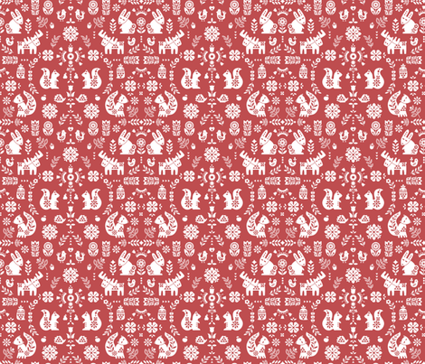 folksy creatures -red fabric by desi_draws on Spoonflower - custom fabric