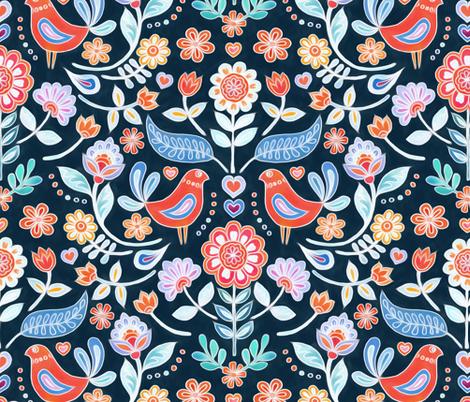 Happy Folk Summer Floral on Dark fabric by micklyn on Spoonflower - custom fabric