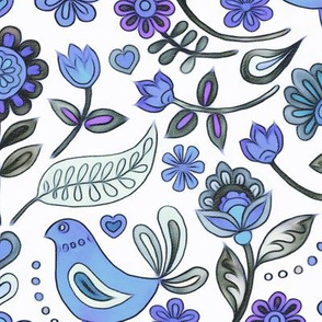 Happy Folk Summer Floral in purple and grey