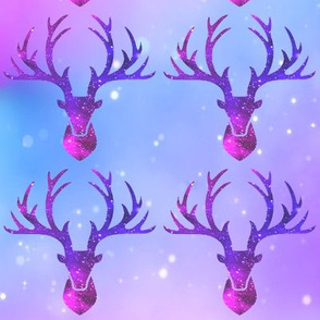 1 deer animals antlers horns elk heads glitter sparkles stars universe galaxy nebula watercolor effect silhouette purple blue violet pink cosmic cosmos planets pink
