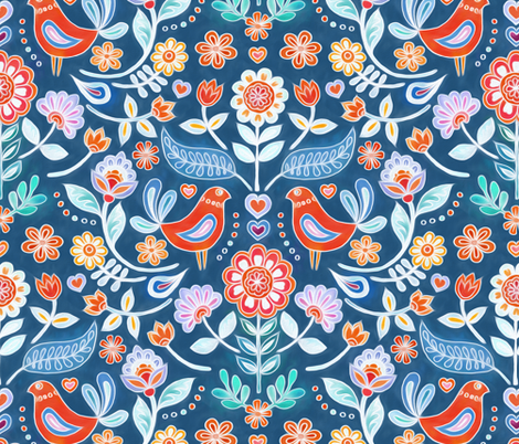 Happy Folk Summer Floral on Blue fabric by micklyn on Spoonflower - custom fabric