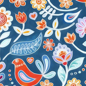 Happy Folk Summer Floral on Blue