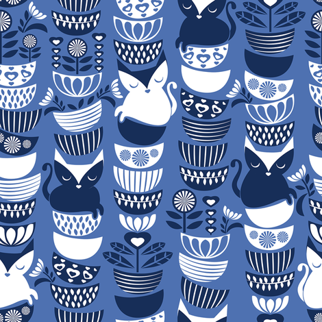 Swedish folk cats // normal scale // indigo blue background navy & white flowers bowls & cute kitties fabric by selmacardoso on Spoonflower - custom fabric
