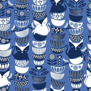 Swedish folk cats // normal scale // indigo blue background navy & white flowers bowls & cute kitties