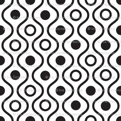 Geometric black and white wavy pattern