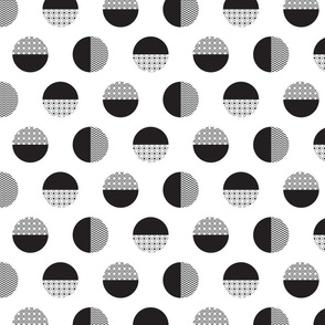 Geometric black and white dotted circles